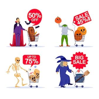 Carácter espeluznante y carro de compras en venta de halloween