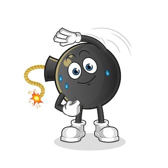 Carácter de estiramiento de bomba. mascota de dibujos animados