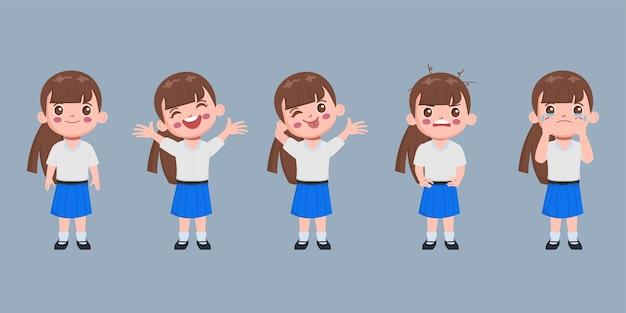 Carácter de estudiante en conjunto de uniforme escolar.