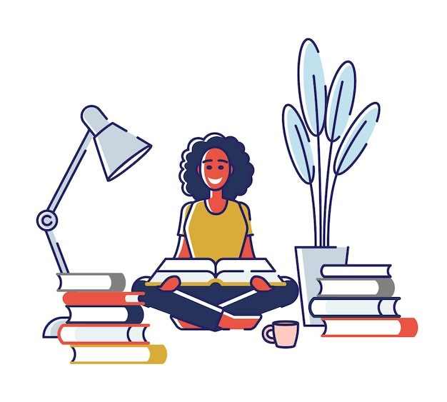 Carácter del estudiante estudiando libros de lectura en casa