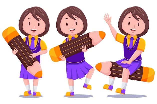 Carácter de estudiante de niña niños lindos felices con lápiz.