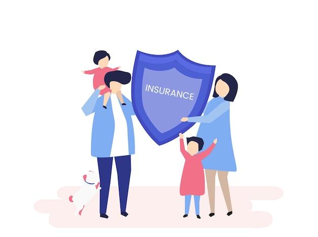 Carácter de una familia sosteniendo una ilustración de seguro