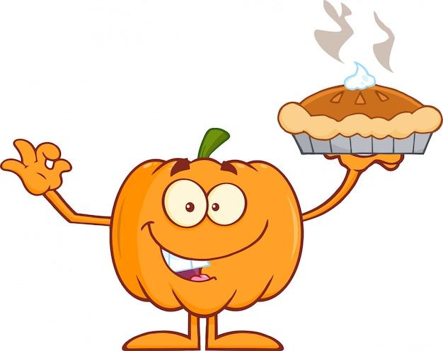 Carácter feliz de la mascota de la calabaza de halloween que sostiene la empanada perfecta