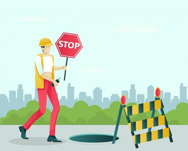 Carácter femenino especialista en reparación de carreteras en el trabajo
