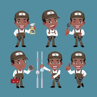 Carácter de fontanero con diferentes poses.
