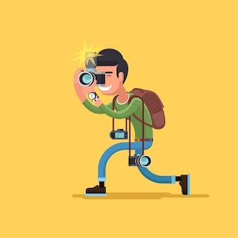 Carácter de fotógrafo de vector. cámara y operador profesional, ilustración de hombre corresponsal