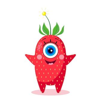 Carácter de fresa de un solo ojo. aislado en un fondo blanco. alegre. hecho en un vector. para textiles infantiles, estampados, fundas, diseños de packaging, souvenirs