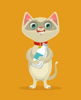Carácter de gato feliz mantenga ilustración de dibujos animados de botella de leche