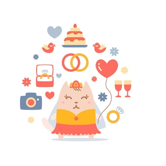 Carácter gato novia en un vestido de novia sosteniendo un globo