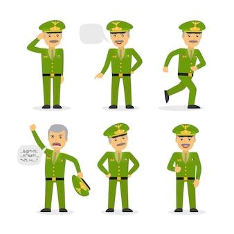 Carácter general militar en diferentes poses.