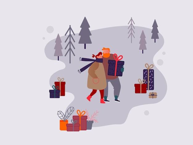 Carácter de la gente de compras en el mercado de navidad o feria al aire libre de vacaciones en la plaza del pueblo, fiesta de año nuevo. hombre y mujer comprando regalos y regalos, tienda festiva. ilustración de diseño vectorial