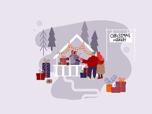 Carácter de la gente de compras en el mercado de navidad o feria al aire libre de vacaciones en la plaza del pueblo, fiesta de año nuevo. hombre y mujer comprando regalos y regalos, tomando café caliente. ilustración de diseño vectorial