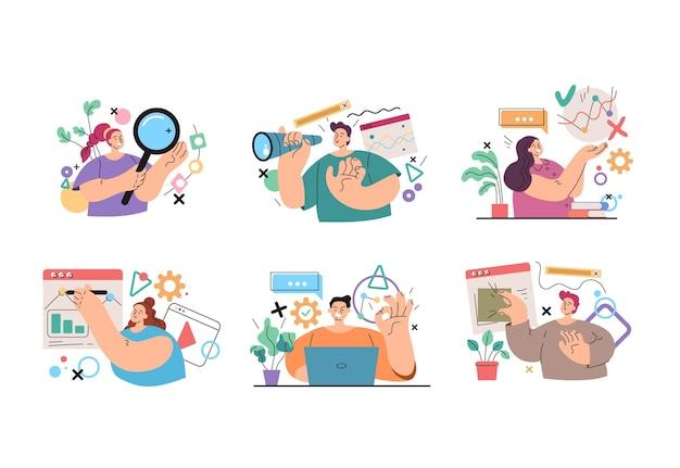 Carácter de gente de negocios haciendo internet actividad empresarial en línea conjunto aislado