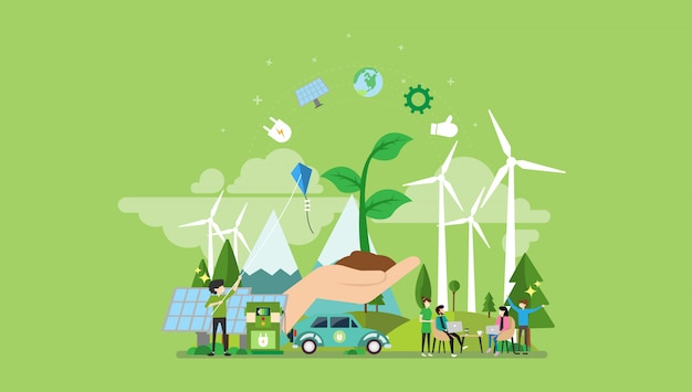 Carácter de gente pequeña de energía verde
