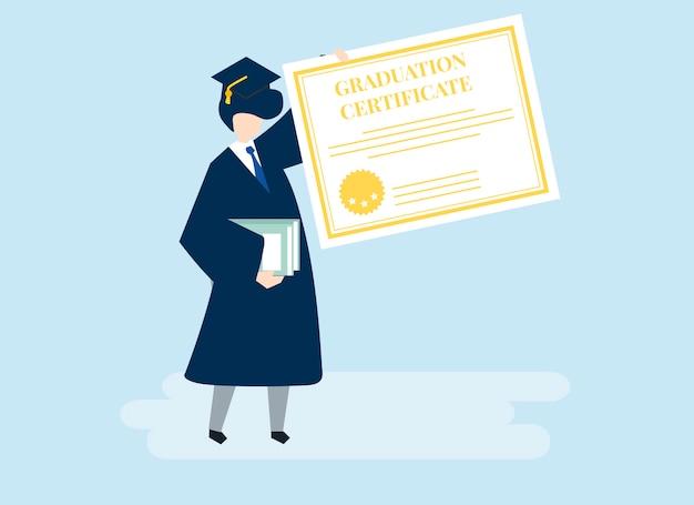 Carácter de un graduado sosteniendo una ilustración de certificado de graduación