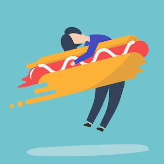 Carácter de un hombre abrazando una ilustración de hot dog de comida rápida