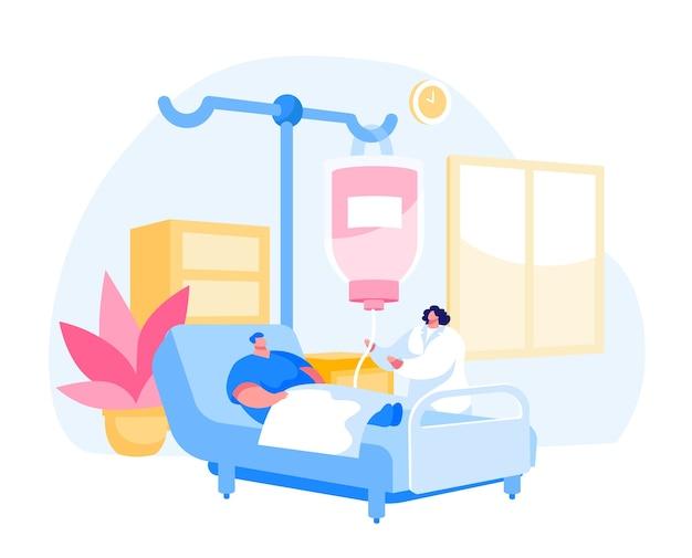 Carácter de hombre acostado en la cámara del departamento de clínica en el hospital aplicando tratamiento