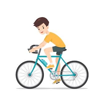 Carácter de hombre en bicicleta la bicicleta