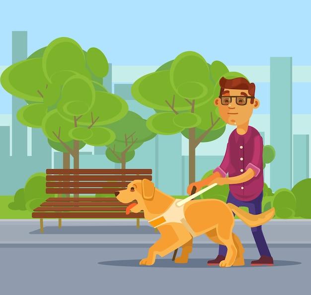 Carácter de hombre ciego caminando con personaje de perro guía. ilustración de dibujos animados plana