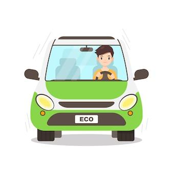Carácter de hombre conduciendo su auto ecológico