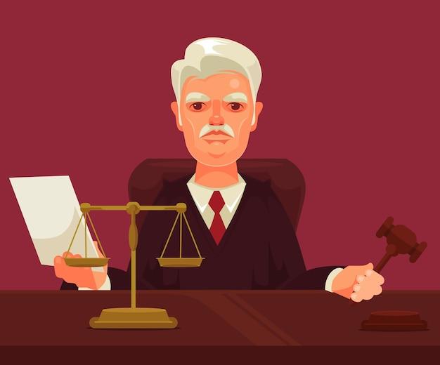 Carácter de hombre estricto juez aislado en violeta