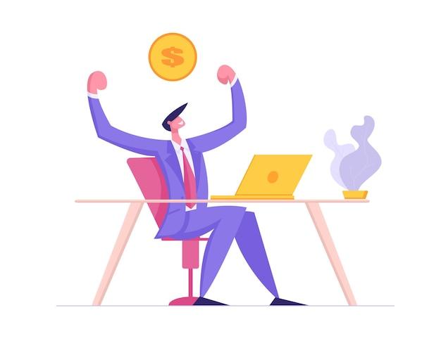 Carácter de hombre feliz trabajando con la ilustración de la computadora portátil