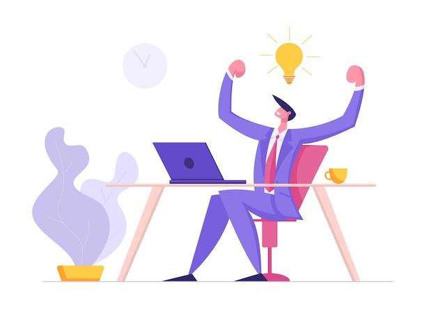 Carácter de hombre feliz trabajando con ordenador portátil con idea bombilla ilustración