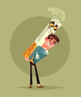 Carácter de hombre fumador llevar monstruo de cigarrillo