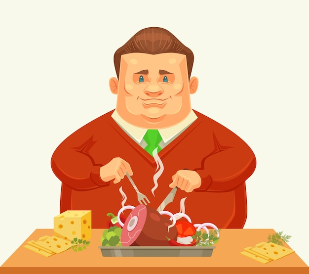 Carácter de hombre gordo feliz comiendo plato grande.