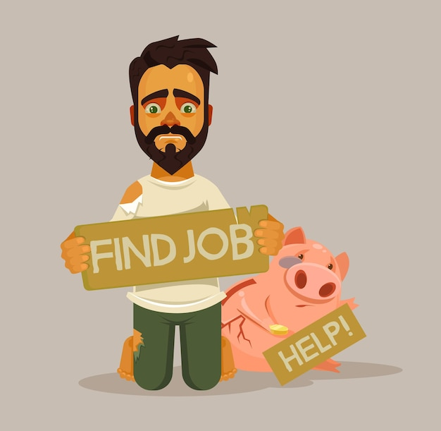 Carácter de hombre sin hogar desempleado. necesito trabajo. ilustración de dibujos animados plano de vector