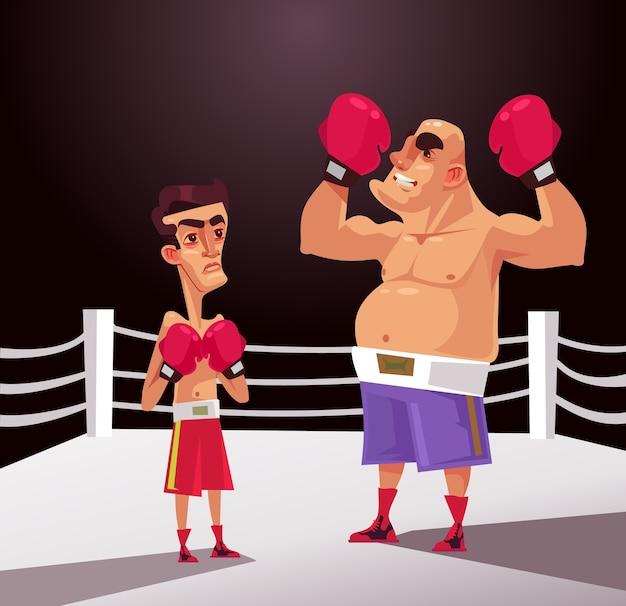 Carácter de hombre de luchador boxeador grande y pequeño. concepto de batalla injusta. ilustración de diseño gráfico de dibujos animados plana