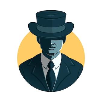 Carácter de hombre de la mafia cubriendo sus ojos con sombrero