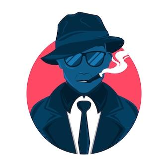 Carácter de hombre de la mafia con gafas y cigarro