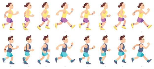 Carácter de hombre y mujer corriendo. animación de personas