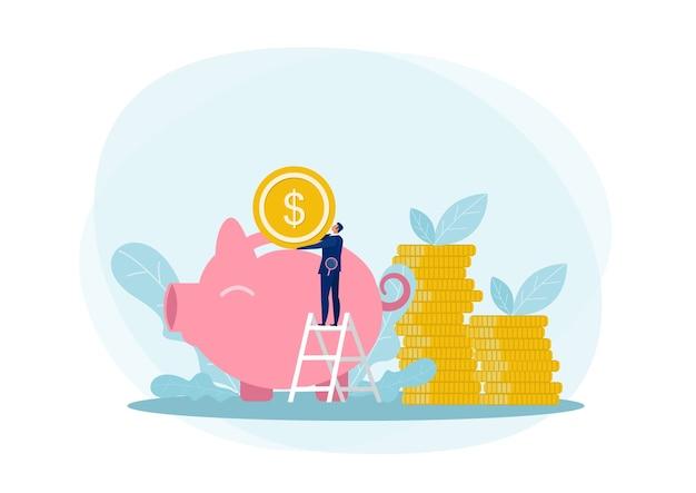 Carácter de hombre de negocios ahorrando dinero
