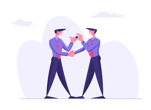 Carácter de hombre de negocios dando llaves a otro empresario vistiendo traje formal