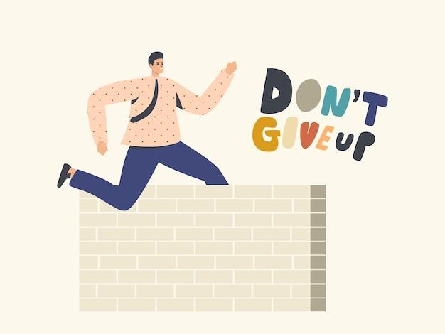 Carácter de hombre de negocios líder exitoso saltando por encima de la pared