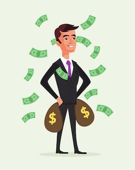 Carácter de hombre de negocios rico tiene bolsas de dinero. exito financiero .