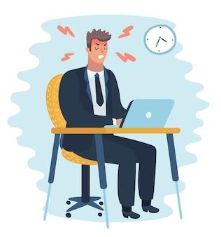 Carácter de hombre de oficina enojado. trabajo duro. ilustración de dibujos animados plana