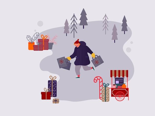 Carácter de hombre de personas de compras en el mercado de navidad o feria al aire libre de vacaciones en la plaza del pueblo, fiesta de año nuevo. persona que compra regalos y regalos, tienda festiva. ilustración de diseño vectorial