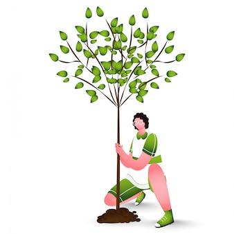Carácter de hombre plantar un árbol en blanco.