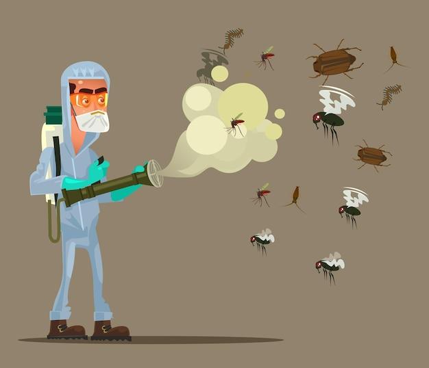 Carácter de hombre de servicio de control de plagas tratando de matar insectos ilustración de dibujos animados