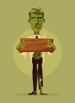 Carácter de hombre zombie con cartel de madera. concepto de halloween