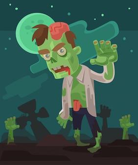 Carácter de hombres zombie hambriento enojado saliendo de la tumba