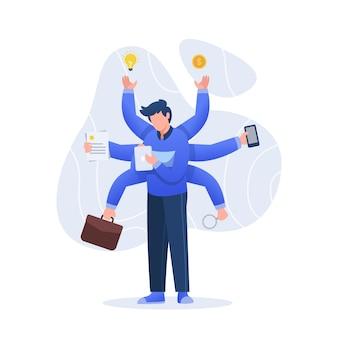 Carácter de ilustración del concepto de multitarea