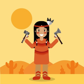 Carácter indio nativo americano con hacha de guerra y hacha
