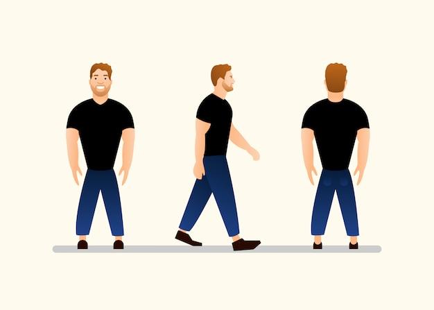 Carácter joven en camiseta negra y jeans azul, vista frontal, lateral y posterior
