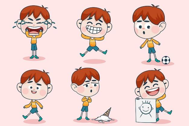 Carácter de joven inteligente con diferentes poses de expresión facial y mano.