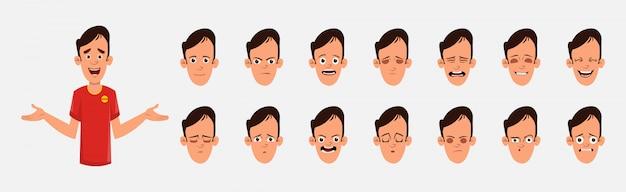 Carácter joven con varias emociones faciales y sincronización de labios. personaje para animación personalizada.
