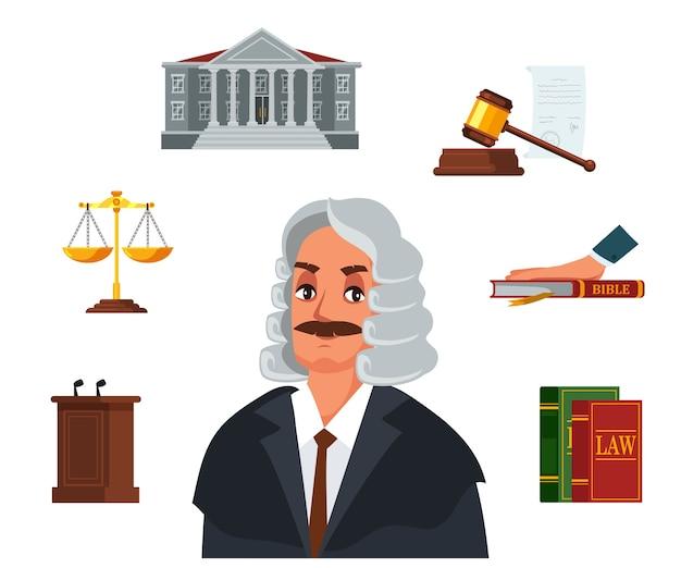 Carácter de juez y juego de accesorios de árbitro, código de derecho, juramento bíblico, reloj de arena, palacio de justicia, tribuna, mazo judicial, balanza dorada.